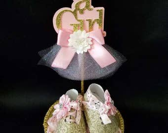 Its a Girl Baby Shower Centerpiece/ Baby Shower Cake Topper/ Its a Girl/ Baby Girl Shoes/ Centerpiece/ Cake Topper