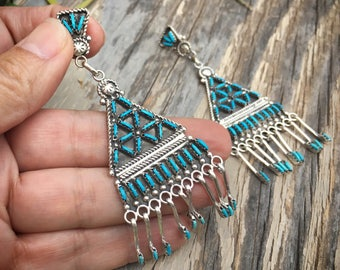 Zuni Earrings Needlepoint Turquoise Jewelry, Turquoise Dangle Chandelier Earrings, Sterling Silver Turquoise Earring Native American Jewelry