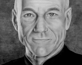 Graphite Drawing- Captain Picard