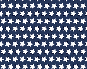 Navy Stars Basic by Riley Blake Designs - Navy Blue Star White Patriotic - Quilting Cotton Fabric - choose your cut