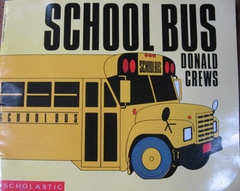 1980's School Bus Children's Illustrated Picture Scholastic Book - Vintage Learning Transportation Yellow Bus