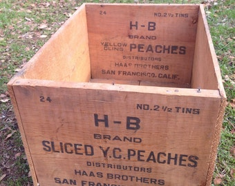 1910's - 1920's Hass Brothers San Francisco Wood Peach Crate