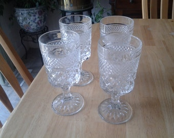 On Sale Set of 4 Anchor Hocking Wexford Glass Water/Wine Goblets