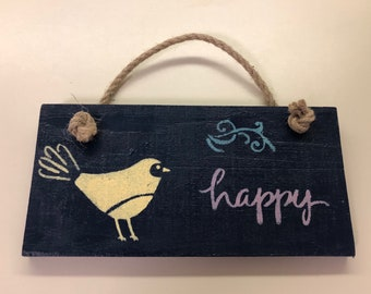 "Wall hanging ""happy"" 8""x4"""