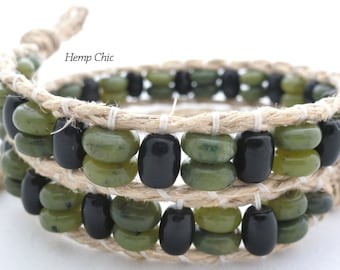 Handmade Double Wrap Hemp Wrap Bracelet or Hemp Choker Necklace with Dark Green Jade and Black Onyx