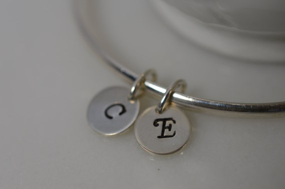 Sterling Silver Custom Initial Charm Bangle Bracelet