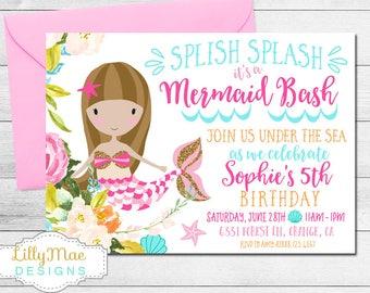 Mermaid Birthday Invitation, Mermaid Invitation, Pink and Gold Glitter, Brunette Mermaid, Mermaid Party, digital, Printable, pool party
