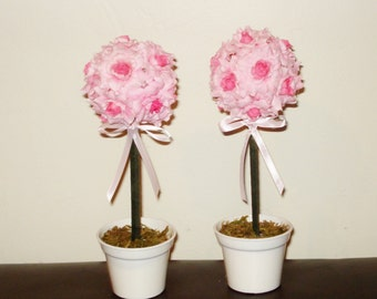 Set of 2 Pink Silk Roses Topiary party centerpiece, Room Decor. Baby Shower. First Birthday.nursery