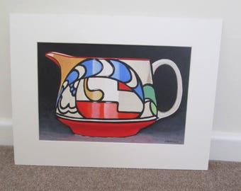 Original Painting of a Clarice Cliff milk jug Teapot still life 16 x 12 inch Art