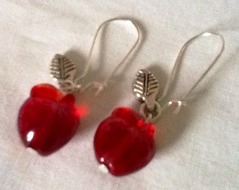 Juicy fruity red glass apple earrings - made from czech glass fruit beads