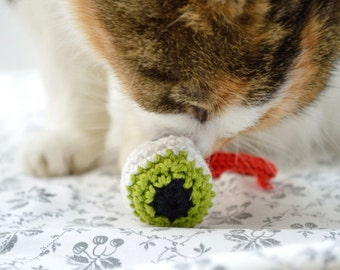 Cat Toy Catnip, Crochet Green Eyeball - pair of 2 eyes