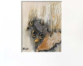Abstract Plaster Painting in Metallic Gold, Black, Gray and White with Acid-Free White Mat - Original Acrylic Art on Panel with Mat