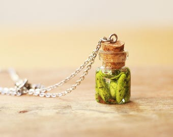 Jarred Pickle Necklace- food jewelry, fruit jewelry, pickle necklace, cute necklace, bottle necklace, food necklace, fruit necklace