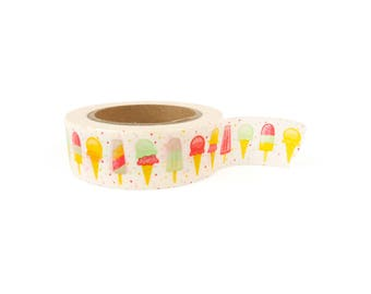 Washi tape - Ice cream, bright colors, stationery, stationary, LittleLeftyLou, Snail Mail, Happy mail, masking tape, 10 meter, summer washi