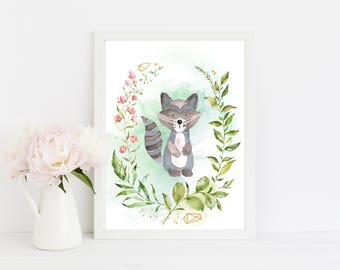 "Watercolor Raccoon, wall art quote, kids room, nursery wall art,  quote print, quote art, inspirational quote, Typography, Quote, ""Print"""
