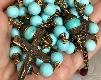Turquoise and Bronze Catholic Rosary
