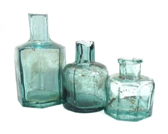 "3.5"" Antique Aqua Glass Ink Bottle Collection"
