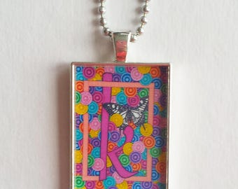 Butterfly K Charm, Resin Pendant, Hot Pink Jewelry, Colorful Necklace, Monogram, Alphabet Letter K, Initial Pendant, Personalized, Rainbow