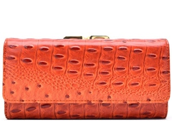 Animal Skin Textured Tri-Fold Kiss Lock Combo Wallet - Orange