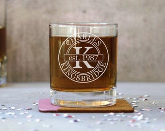 Personalised Old Fashioned Whiskey Tumbler Glass