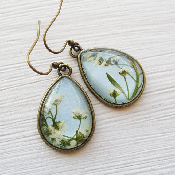 Pressed Flower Earrings - Alyssum and Baby Blue Teardrop Earrings