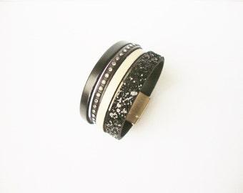 Black leather cuff, leather, glitter and rhinestones