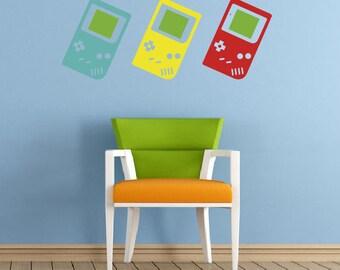 Retro Game Boy Wall Stickers, Matt Vinyl, Contemporary Wall Art, Wall Decor, Murals, Decals, 1283mm x 500mm
