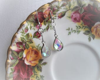 Hypo Allergenic Aurora Borealis Multi Faceted GlassTeardrop Earring Dangle Nickel Free On French Ear Wires Hand Assembled by HandcraftUSA