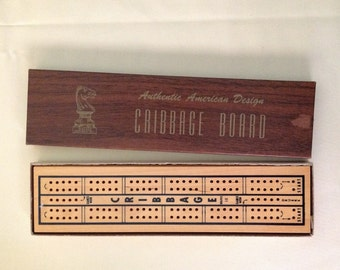 Cribbage Board Game in Original Box with Instructions, Two Player Hardwood Board