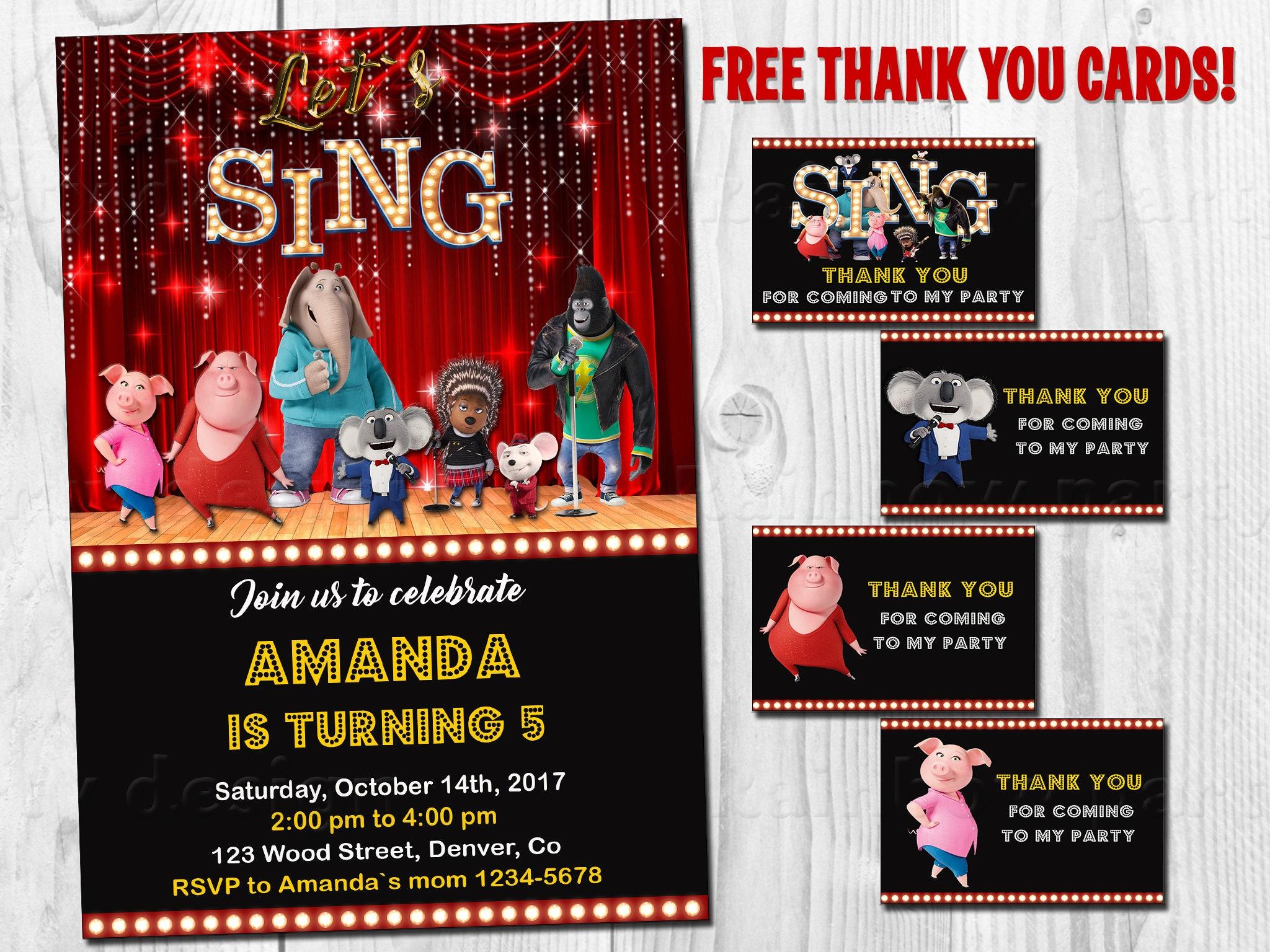 Sing invitation printable Sing birthday invitation Sing movie