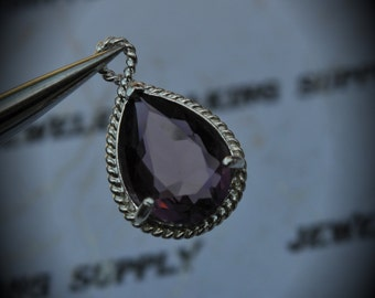 Silver Plated Rope Rim Bezel Brass Faceted Glass Tear Drop Pendant - Amethyst