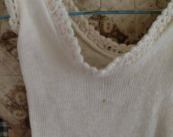 Old Victorian Edwardian Doll Knit Underwear 1 Piece Drawstring Neck Antique Vintage