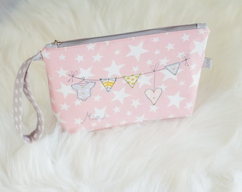 Diaper clutch, Makeup bag, Nappy Holder, Cosmeticsbag, Toy clutch, Mini diaper bag, Wrist pouch,Personalised bag, Stars pattern bag