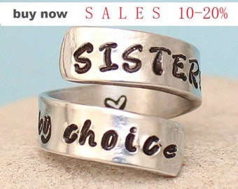 Sisters By Choice Ring - Personalized Ring - Adjustable Aluminum Wrap Ring.. Sterling Silver ring.. Best Gift. ....