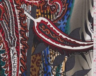 White Multi Paisley Print Silk Jersey Knit, Fabric By The Yard