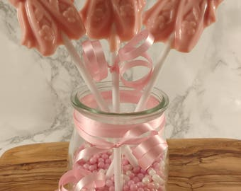 3 x Ballet Shoe lollipops. Ballerina. Pink lolly. lollies. Party favour. Strawberry chocolate . Birthday party bag favour.