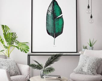 Hand Screen Printed Large A1 Tropical Banana Leaf Print - Jungle / Botanical Design