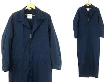 Blue Coveralls Vintage Jumpsuit Mechanic Suit Pants Dark Baggy Blue Bibs Jumper Jumpsuit Mens size 44 regular