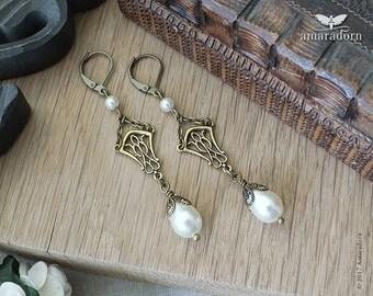 Art Nouveau Earrings, Mucha Inspired Jewellery, Ivory Pearl Earrings, Bridal Earrings with Pearls, Brass Art Nouveau Jewelry, Handmade UK