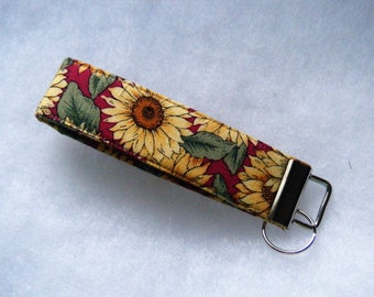 Key Fob wristlet - Sunflowers on red background