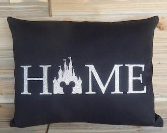 Disney Inspired 12x16 Black Pillow Cover, Disney World, Cinderella's Castle, Disney Home Decor, Decorative Pillow, Glitter Vinyl