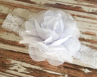 Baptism Headband - Lace Christening Headband - White Lace Flower Headband - Wedding Headband for Flower Girl - Easter Hairband for Girls