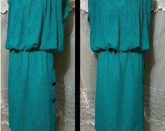 80s Dress l.t.d. by Roberta Neau Wave, Punk Squared, High Fashion Avant Garde Aqua Dress Oversized Shoulders Size Xs Small