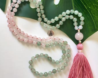 Rose Quartz Mala Beads, Aventurine Mala Beads, Mala Beads 108, Buddhist Prayer beads, Japa Mala 108, Buddah Charm