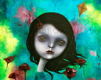 "Giclee print of ""Morpheus' garden"". Art by Susann Brox Nilsen. Psychedelic, red poppy, flowers, landscape, surrealism, lowbrow, girl, kite"