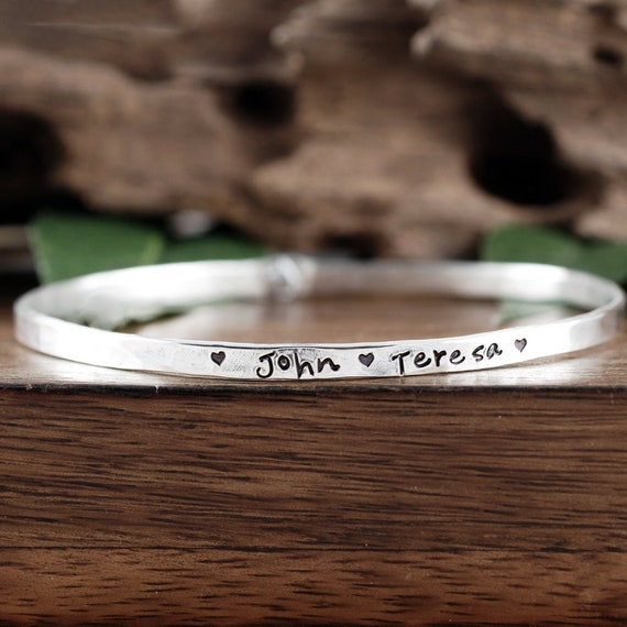 Personalized Name Bangle Bracelet, Mother's Bracelets, Personalized Bangle Bracelet, Gift for Mom, Stamped Name Bangle Bracelet, Annie Reh