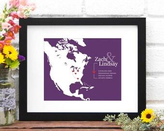 North American Travel Map, Anniversary Gift, Retirement Gift, First Anniversary, Gift for Him, US Military Map, North America- Art Print