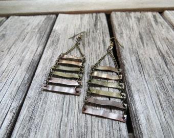 Mixed metal earrings--Industrial--Geometric--Ombre Earrings--Rustic Jewelry--Hammered Metal--Boho--Bronze--Dangle earrings--Copper Earrings
