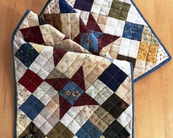 Quilted Country Table Runner, Handmade Quilted Runner, Pieced Centerpiece Runner, Small Quilted Table Runner, Country Decor