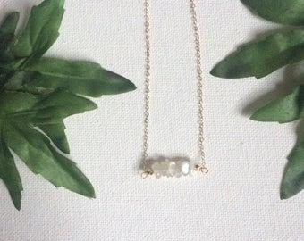 Moonstone horizontal bar necklace, gift for her, handmade jewelry, gemstone jewelry